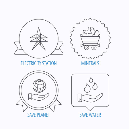 mines: Save water, planet and electricity station icons. Minerals linear sign. Award medal, star label and speech bubble designs. Vector Illustration