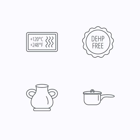 saucepan: Saucepan, vase and heat-resistant icons. DEHP free linear sign. Flat linear icons on white background. Vector