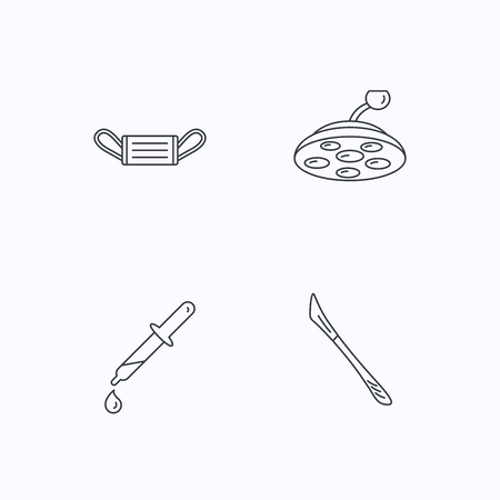 surgical mask: Medical mask, scalpel and pipette icons. Surgical lamp linear sign. Flat linear icons on white background. Vector