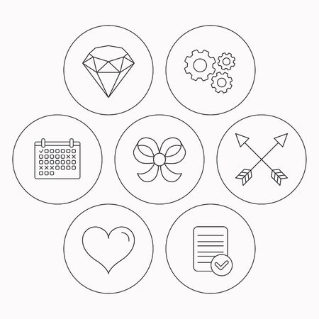 bowknot: Love heart, brilliant and bow-knot icons. Arrows linear signs. Check file, calendar and cogwheel icons. Vector Illustration
