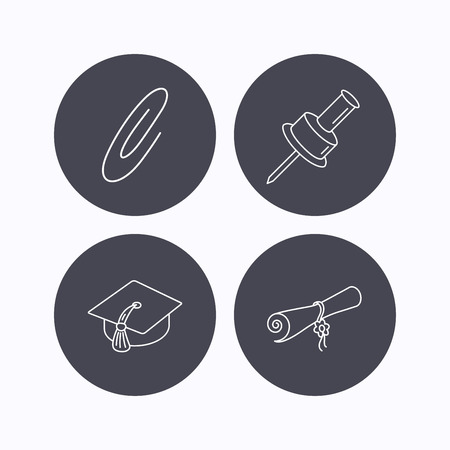safety circle: Graduation cap, pushpin and diploma icons. Safety pin linear sign. Flat icons in circle buttons on white background. Vector