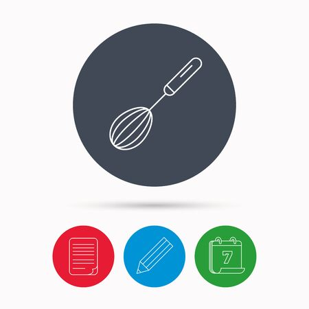whisking: Whisk icon. Kitchen tool sign. Kitchenware whisking beater symbol. Calendar, pencil or edit and document file signs. Vector