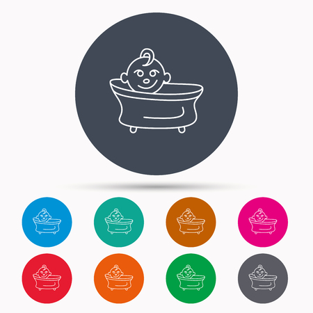 bathing: Baby in bath icon. Toddler bathing sign. Newborn washing symbol. Icons in colour circle buttons. Vector