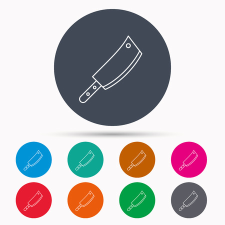 butcher knife: Butcher knife icon. Kitchen chef tool sign. Icons in colour circle buttons. Vector Illustration