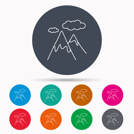 extreme terrain: Mountain icon. Hills and clouds sign. Climbing travel symbol. Icons in colour circle buttons. Vector Illustration