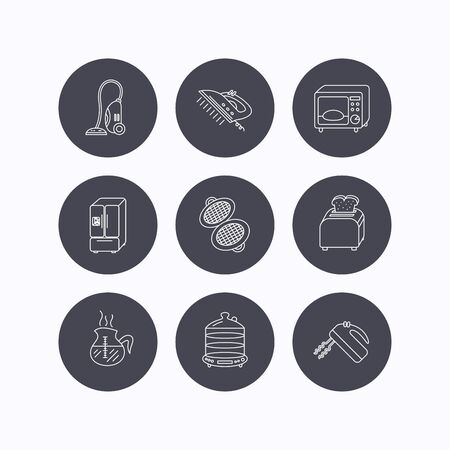 coffee blender: Microwave oven, coffee and blender icons. Refrigerator fridge, steamer and toaster linear signs. Vacuum cleaner, ironing and waffle-iron icons. Flat icons in circle buttons on white background. Vector