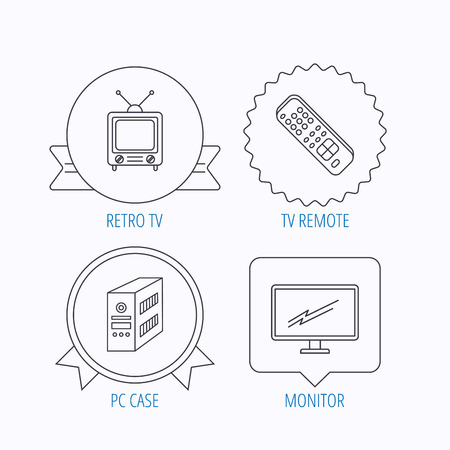 pc case: Retro TV, PC case and monitor icons. TV remote linear sign. Award medal, star label and speech bubble designs. Vector