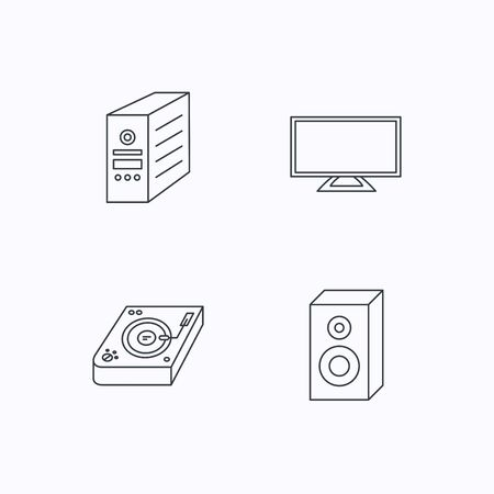 pc case: Sound, club music and pc case icons. TV linear sign. Flat linear icons on white background. Vector