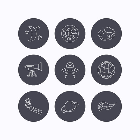 tnt: Ufo, planet and telescope icons. World, global network and night linear signs. TNT dynamite, fire flame and wind flat line icons. Flat icons in circle buttons on white background. Vector Illustration