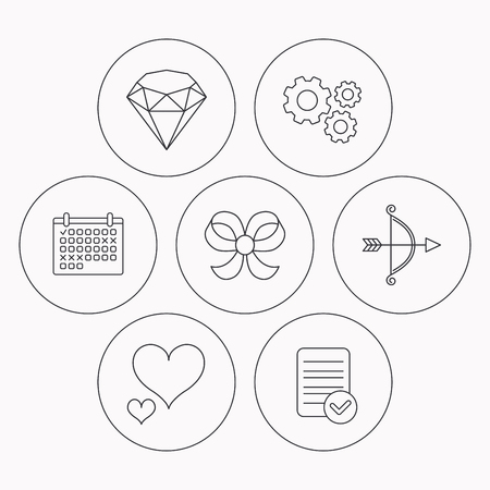 bowknot: Love heart, brilliant and bow-knot icons. Bow and arrow linear signs. Check file, calendar and cogwheel icons. Vector Illustration