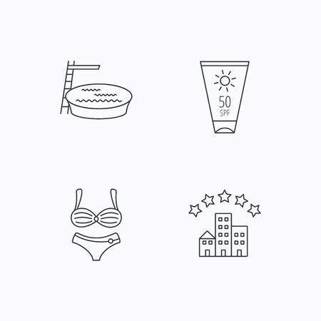 hotel pool: Hotel, swimming pool and sun cream icons. Lingerie linear sign. Flat linear icons on white background. Vector