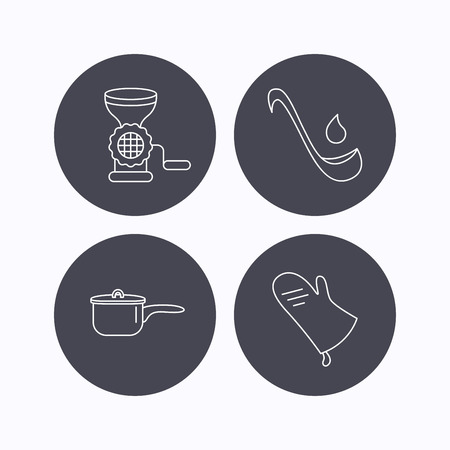 meat soup: Soup ladle, potholder and kitchen utensils icons. Meat grinder and saucepan linear signs. Flat icons in circle buttons on white background. Vector Illustration