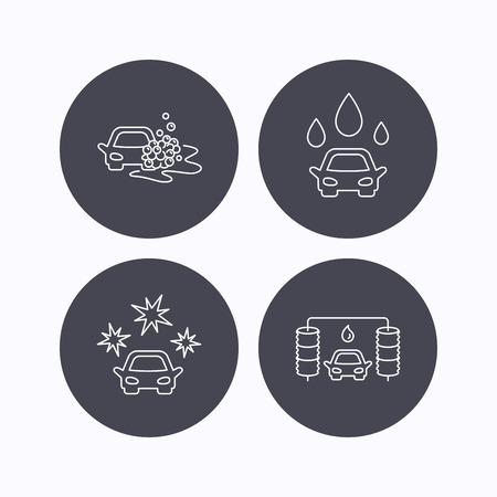 operated: Car wash icons. Automatic cleaning station linear signs. Clean car, automatic carwash flat line icons. Flat icons in circle buttons on white background. Vector