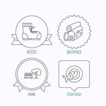 warm water fish: Park, backpack and hiking boots icons. Fish dish linear sign. Award medal, star label and speech bubble designs. Vector Illustration