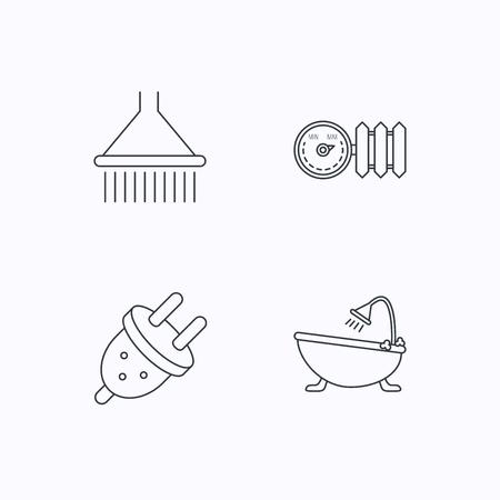 Dusche, Badewanne und elektrische Stecker Symbole. Heizkörper mit Regler linear Zeichen. Flache lineare Symbole auf weißem Hintergrund. Vektor