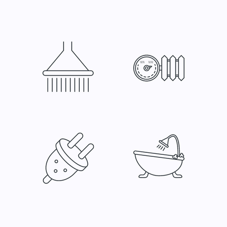 regulator: Shower, bath and electric plug icons. Radiator with regulator linear sign. Flat linear icons on white background. Vector
