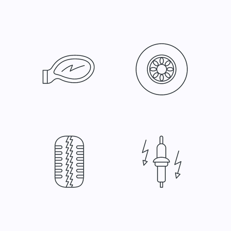 tread: Wheel, car mirror and spark plug icons. Tire tread linear sign. Flat linear icons on white background. Vector Illustration