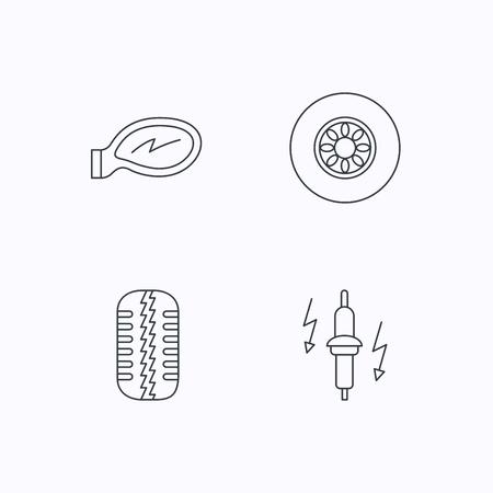 tire tread: Wheel, car mirror and spark plug icons. Tire tread linear sign. Flat linear icons on white background. Vector Illustration