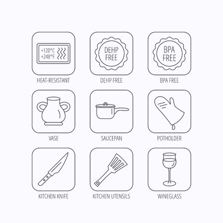 bpa: Saucepan, potholder and wineglass icons. Kitchen knife, utensils and vase linear signs. Heat-resistant, BPA, DEHP free icons. Flat linear icons in squares on white background. Vector