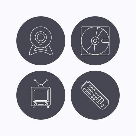 retro tv: Web camera, retro TV and hard disk icons. TV remote linear sign. Flat icons in circle buttons on white background. Vector