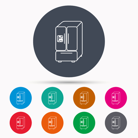 American fridge icon. Refrigerator with ice sign. Icons in colour circle buttons. Vector Illustration