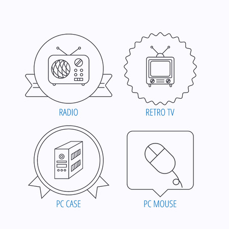 pc case: Radio, retro TV and PC mouse icons. PC case linear sign. Award medal, star label and speech bubble designs. Vector