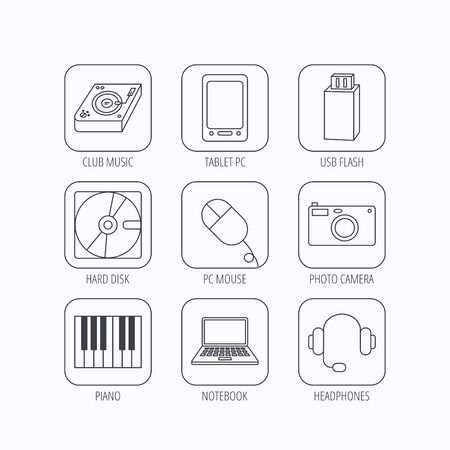 usb disk: Tablet PC, USB flash and notebook laptop icons. Club music, hard disk and photo camera linear signs. Piano, headphones icons. Flat linear icons in squares on white background. Vector