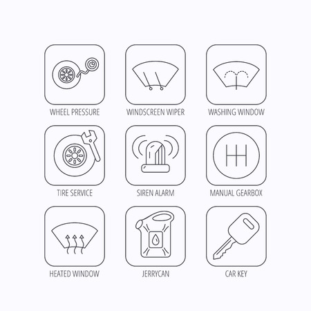 heated: Manual gearbox, tire service and car key icons. Siren alarm, jerrycan and wheel pressure linear signs. Window washing, wiper and heated icons. Flat linear icons in squares on white background. Vector Illustration