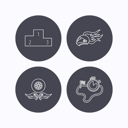 race winner: Winner podium, race timer and wheel on fire icons. Motorcycle helmet on fire linear sign. Flat icons in circle buttons on white background. Vector