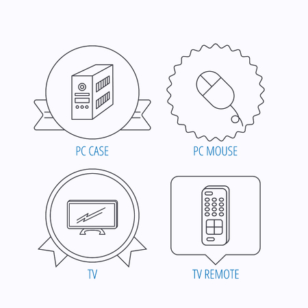 tv remote: PC mouse, TV remote and computer icons. Widescreen TV linear sign. Award medal, star label and speech bubble designs. Vector
