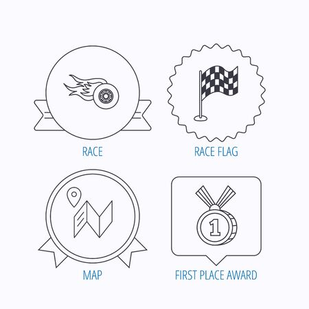 race winner: Race flag, map and winner award icons. First place medal, wheel on fire linear signs. Award medal, star label and speech bubble designs. Vector