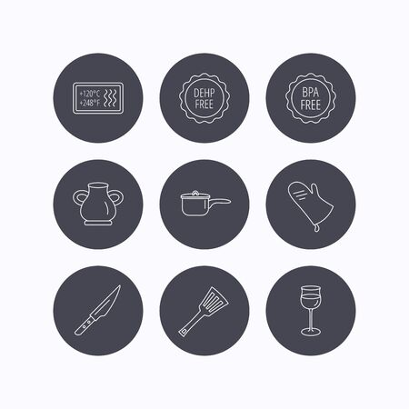 bpa: Saucepan, potholder and wineglass icons. Kitchen knife, utensils and vase linear signs. Heat-resistant, BPA, DEHP free icons. Flat icons in circle buttons on white background. Vector Illustration