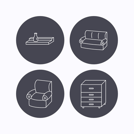chest wall: Sofa, wall shelf and armchair icons. Chest of drawers linear sign. Flat icons in circle buttons on white background. Vector