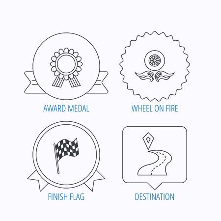 race winner: Winner award medal, destination and flag icons. Race flag, wheel on fire linear signs. Award medal, star label and speech bubble designs. Vector Illustration