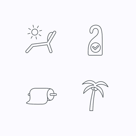 5 door: Palm tree, paper towel and beach deck chair icons. Clean room linear signs. Flat linear icons on white background. Vector