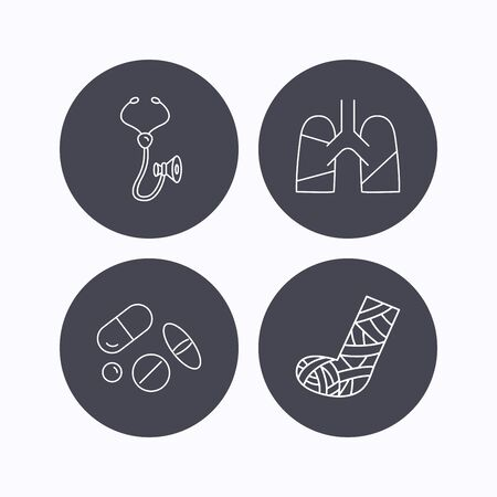 analyses: Broken foot, lungs and medical pills icons. Stethoscope linear sign. Flat icons in circle buttons on white background. Vector