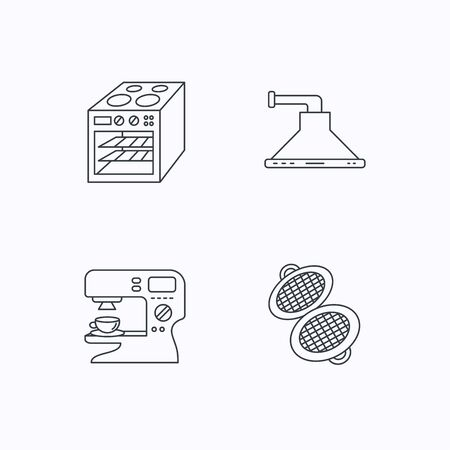 sign maker: Waffle-iron, coffee maker and oven icons. Kitchen hood linear sign. Flat linear icons on white background. Vector Illustration