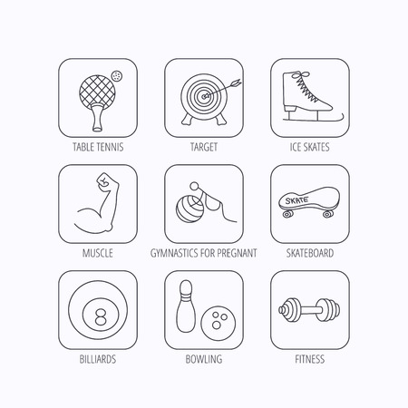 skating on thin ice: Target, table tennis and fitness sport icons. Skateboard, muscle and bowling linear signs. Ice skates, billiards and gymnastics icons. Flat linear icons in squares on white background. Vector