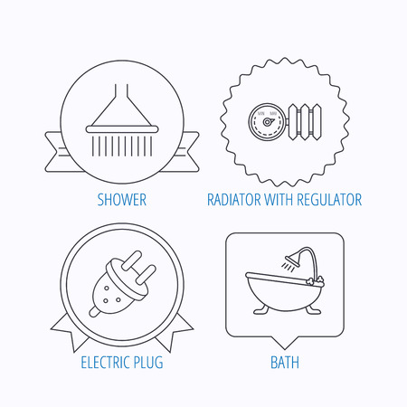 regulator: Shower, bath and electric plug icons. Radiator with regulator linear sign. Award medal, star label and speech bubble designs. Vector Illustration