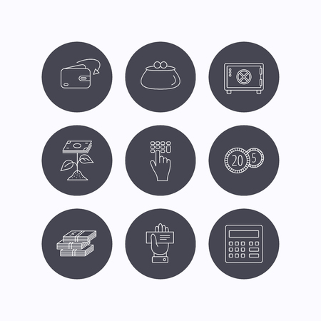cash box: Cash money, safe box and calculator icons. Safe box, cheque and dollar usd linear signs. Profit investment, wallet and coins icons. Flat icons in circle buttons on white background. Vector