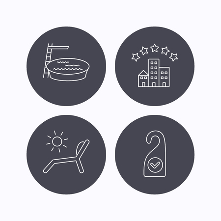 5 door: Hotel, swimming pool and beach deck chair icons. Clean room linear sign. Flat icons in circle buttons on white background. Vector