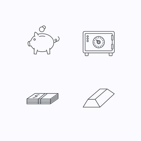 gold bar: Piggy bank, cash money and safe icons. Gold bar linear sign. Flat linear icons on white background. Vector