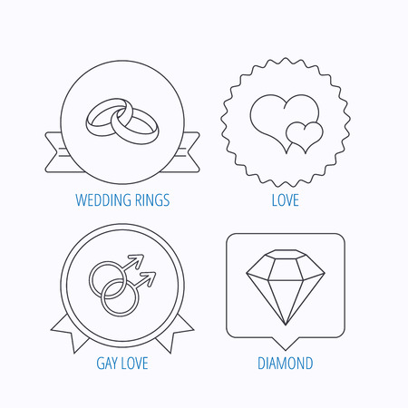 gay love: Love heart, diamond and wedding rings icons. Gay love linear sign. Award medal, star label and speech bubble designs. Vector