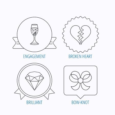 brilliant heart: Broken heart, brilliant and engagement ring icons. Bow-knot linear sign. Award medal, star label and speech bubble designs. Vector