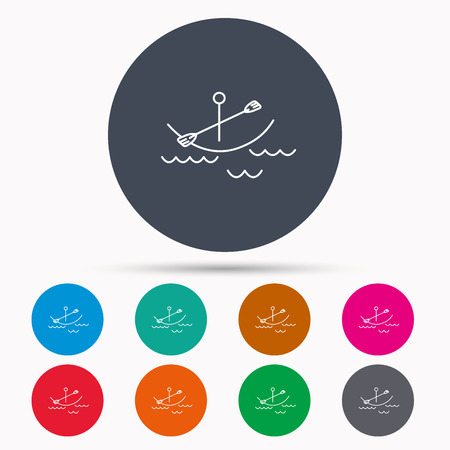 boating: Kayaking on waves icon. Boating or rafting sign. Canoeing extreme sport symbol. Icons in colour circle buttons. Vector