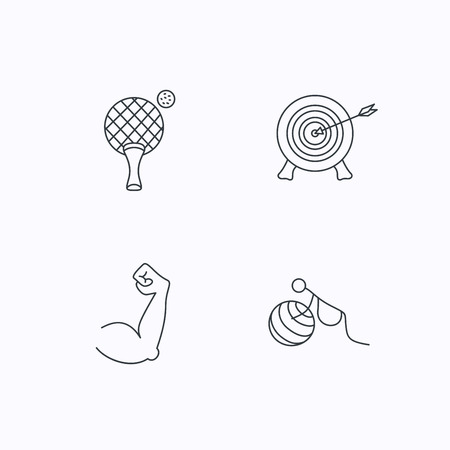 pregnancy exercise: Target, table tennis and biceps icons. Gymnastics for pregnant linear sign. Flat linear icons on white background. Vector Illustration