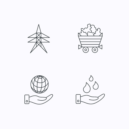 mines: Save water, planet and electricity station icons. Minerals linear sign. Flat linear icons on white background. Vector Illustration