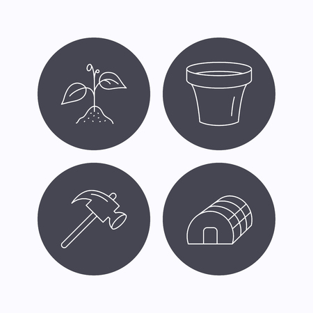 hothouse: Sprout plant, hammer and pot icons. Hothouse linear sign. Flat icons in circle buttons on white background. Vector
