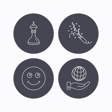 shah: Save planet, slapstick and strategy icons. Smile linear sign. Flat icons in circle buttons on white background. Vector