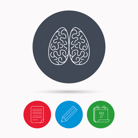 head wise: Neurology icon. Human brain sign. Calendar, pencil or edit and document file signs. Vector